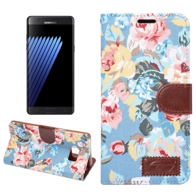 Kožené púzdro pre Samsung Galaxy Note 7 - Flower blue