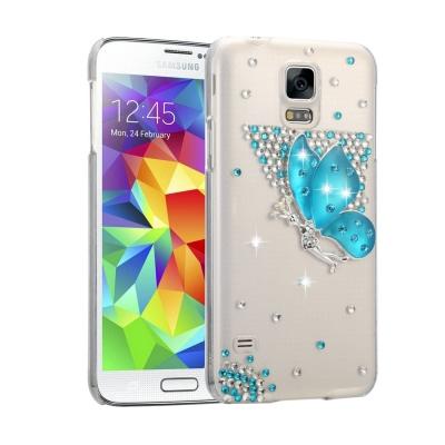 Ochranný kryt s ozdobným motívom pre Samsung Galaxy S5 - Blue Butterfly