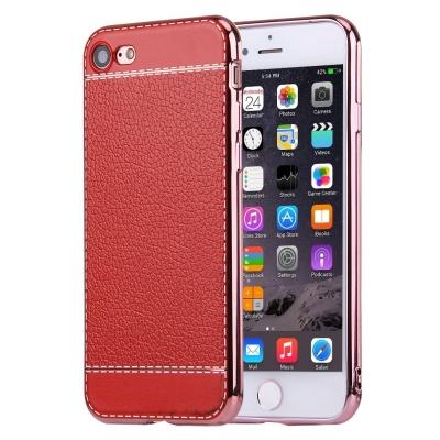 Ochranný flexi kryt litchi pre iPhone 7 - red