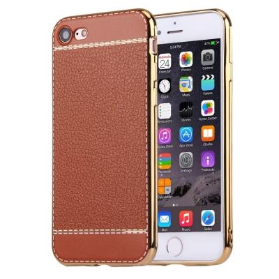 Ochranný flexi kryt litchi pre iPhone 7 - brown