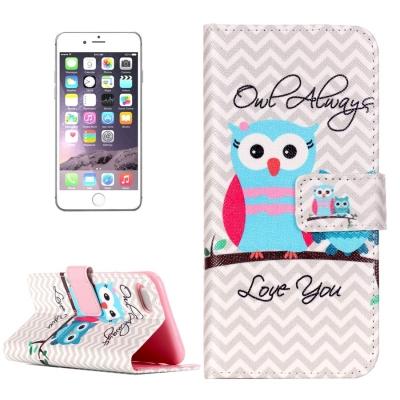Diárové kožené púzdro pre iPhone 7 - Owls