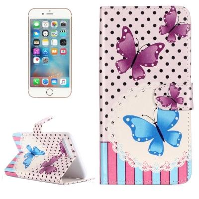 Kožené diárové púzdro pre iPhone 7 plus -  Purple Butterflies