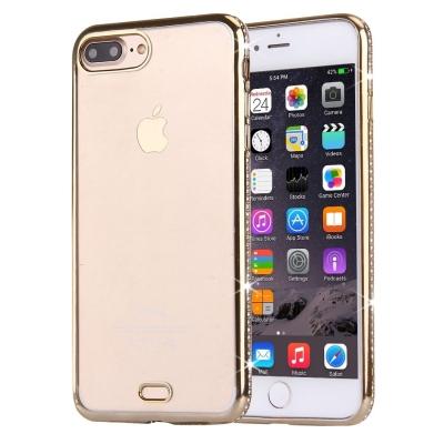 Ultra tenký kryt s ozdobnými kamienkami pre iPhone 7 plus - gold