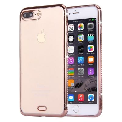 Ultra tenký kryt s ozdobnými kamienkami pre iPhone 7 plus - rose gold
