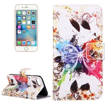 Diárové kožené púzdro pre iPhone 7 - White butterfly