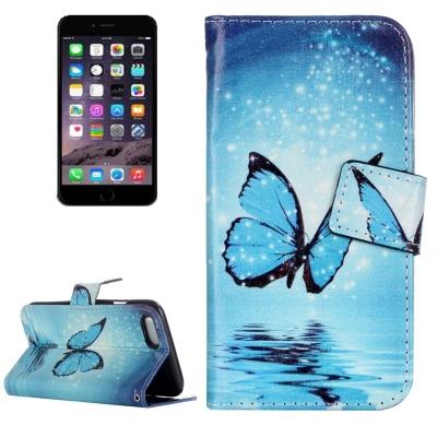 Diárové kožené púzdro pre iPhone 7 - Blue butterfly