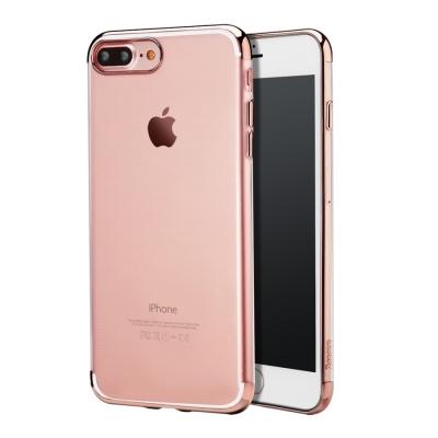 Baseus ultra tenký transparentný kryt s rámom pre iPhone 7 plus - rose gold
