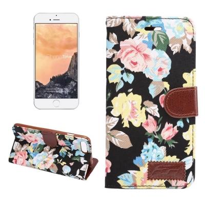 Kožené diárové púzdro pre iPhone 7 plus -  Flower black