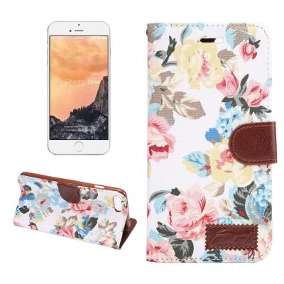 Kožené diárové púzdro pre iPhone 7 plus -  Flower white