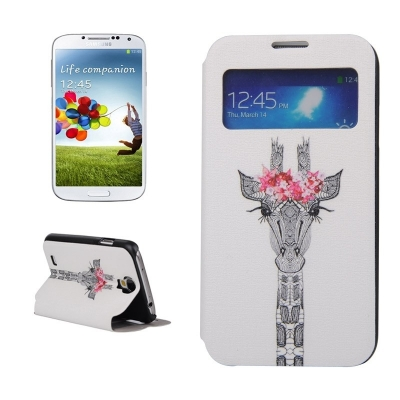Kožené púzdro pre Samsung Galaxy S4 - Giraffe