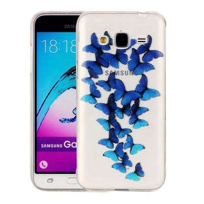 Ochranný plastový kryt na Samsung Galaxy J3 - 2016 - Blue Butterflies
