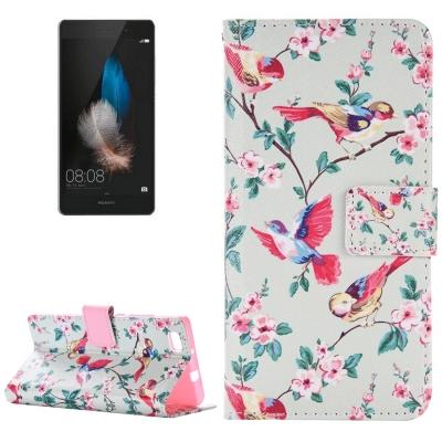 Diárové kožené púzdro pre Huawei P8 Lite - Birds Pattern