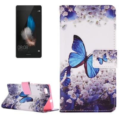 Diárové kožené púzdro pre Huawei P8 Lite - Butterfly & Flower