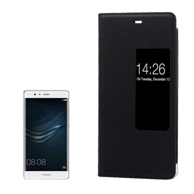 Kožené ochranné flip púzdro pre Huawei P9 - black