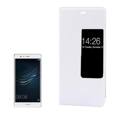 Kožené ochranné flip púzdro pre Huawei P9 - white