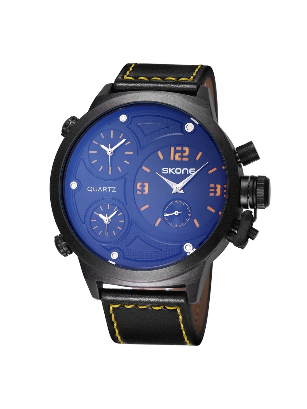 Športové pánske hodinky SKONE - yellow  f08ddacd219