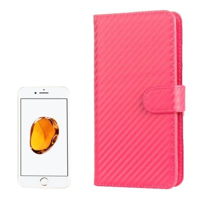 Karbónové diarové puzdro pre iPhone 7 / 6S / 6 / - pink