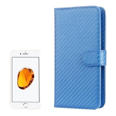 Karbónové diarové puzdro pre iPhone 7 / 6S / 6 / - blue