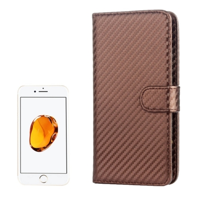 Karbónové diarové puzdro pre iPhone 7 / 6S / 6 / - brown