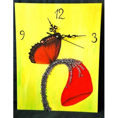 Ručne maľované originálne hodiny Flower
