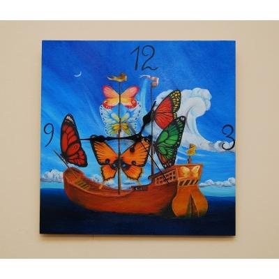 Ručne maľované originálne hodiny Butterfly Ship