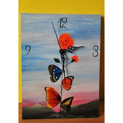 Ručne maľované originálne hodiny Butterfly Rose