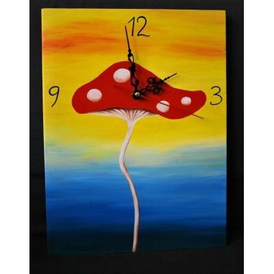 Ručne maľované originálne hodiny - fool's mushroom