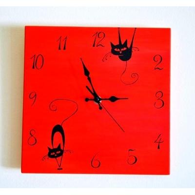 Ručne maľované originálne hodiny Cats