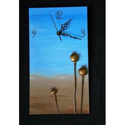 Ručne maľované hodiny Gold Poppy Heads