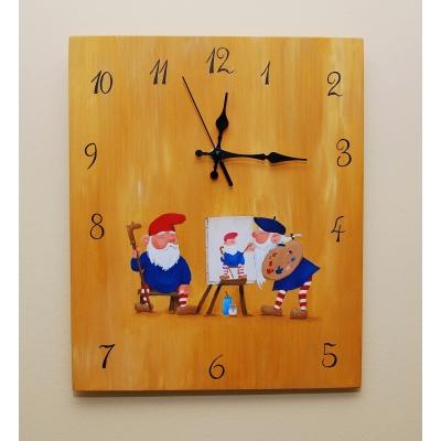 Ručne maľované hodiny Gnomes