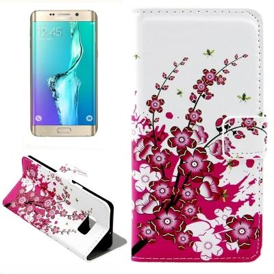Kožené púzdro pre Samsung Galaxy S6 edge plus - Purple flowers