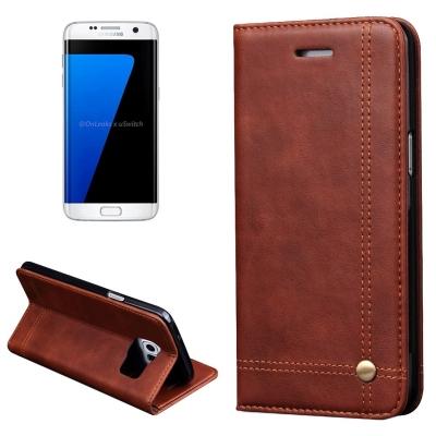 Elegantné kožené púzdro pre Samung Galaxy S7 edge - čierne
