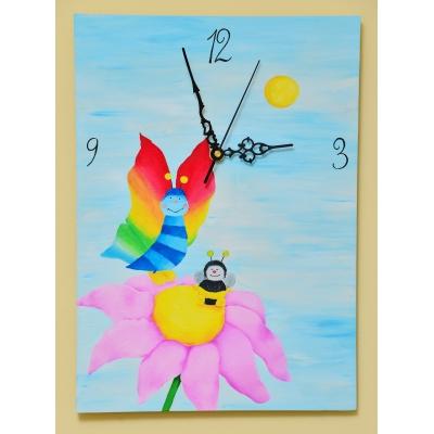 Ručne maľované originálne hodiny Špagátové kvety